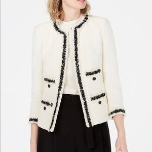 Anne Klein Tweed Collarless Jacket